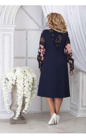 Платье Ninele 2281 синий+цветы